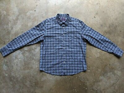 $24.95 • Buy Untuckit Mens Large Wrinkle Free Blue Plaid Long Sleeve Button Up Flannel Shirt