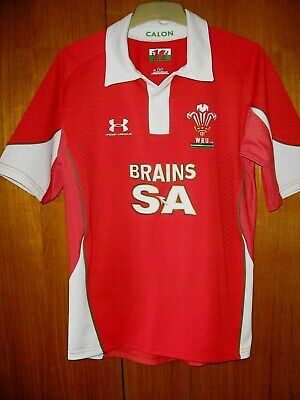 £8.99 • Buy Wales Rugby Union Football Jersey Shirt Under Armour Size SM S 36/38 BRAINS SA