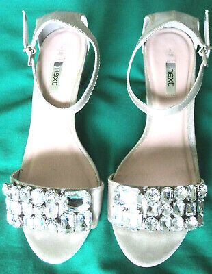 £6.99 • Buy Next. Silver Diamond Gem Decorated Ankle Strap Mid Heel Shoes. With Box. UK 5.