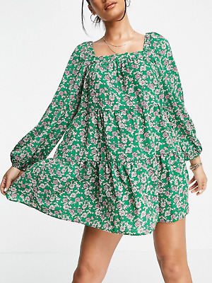 AU18.67 • Buy NEW ASOS Design Green Floral Tiered Trapeze Smock Dress UK 14