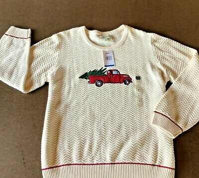 $14.99 • Buy New CABELA'S Christmas Red Pickup Truck With Tree Ivory Knit Sweater Men's XL