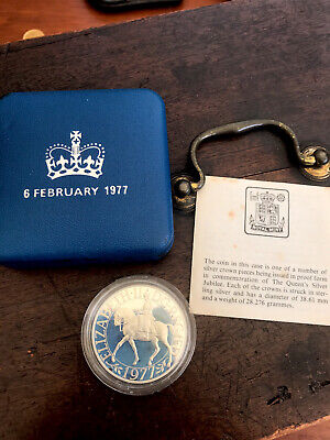 £13.50 • Buy 1977 Royal Mint Queens Silver Jubilee, Silver Proof Crown Coin Boxed With COA