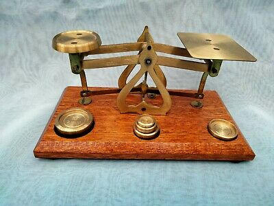£10.50 • Buy Vintage Style ~ Post Office Letter Scales With A Set Of  5 Brass Gram Weights