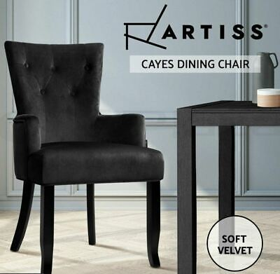 AU129.99 • Buy Artiss Dining Chairs French Provincial Chair Velvet Fabric Timber Retro Black