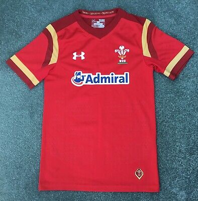 £7.99 • Buy UNDER ARMOUR Kids Boys Red WRU WALES Rugby Union Loose Shirt 7-8 Years