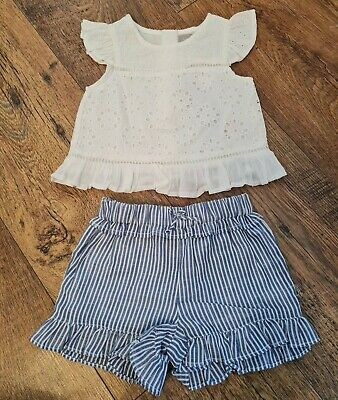 £4.99 • Buy Bnwt Baby Girl White Floral Embroidered Top & Frill Shorts Set Age 9-12 Months