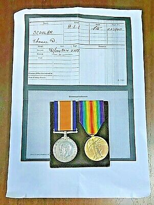 £55 • Buy PAIR OF WWI MEDALS - Pte THOMAS SCOULAR - HIGHLAND LIGHT INFANTRY