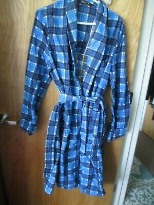 $19.99 • Buy Men's One Size Robe Blue Plaid By Dunmar Tie Flannel