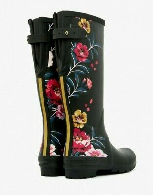 £59.99 • Buy Joules Womens Wellies - Black Border Flower Tall Wellies Boots Size 7 BNIB