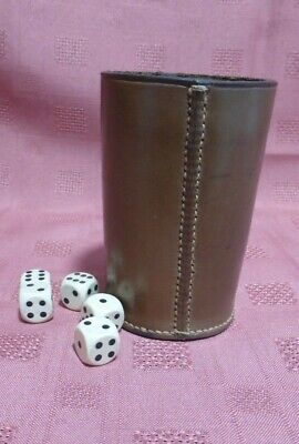 £19.99 • Buy Vintage Stitched Brown Leather Tumbler Dice Shaker Cup Game + 5 Wooden Dice