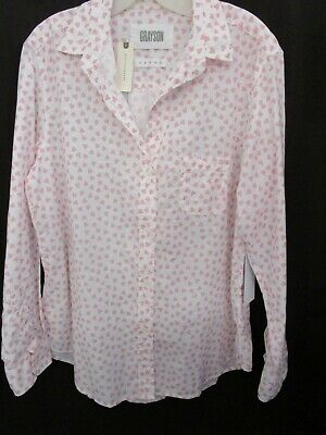 $ CDN37.75 • Buy GRAYSON ANTHROPOLOGIE Pink Heart Cotton Blouse Tunic Size XL New With Tags