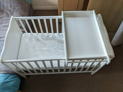 £49 • Buy Baby Infant White Cot Bed Toddler Junior + Including Mattress + Changer Table