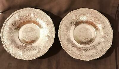 $ CDN62.93 • Buy 2 Vintage 7  Persian Silver Alloy Footed Plates W/ Ornate Lotus Flowers Signed