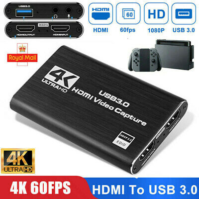 £11.99 • Buy HDMI To USB 2.0/3.0 Video Capture Card 60fps 4K 1080p Recorder Game Live Stream