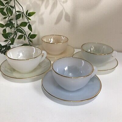 £34.95 • Buy Vintage Set Of 4 Arcopal French Harlequin Pastel Opalescent Tea Cups And Saucers