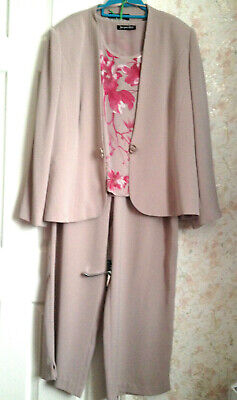 £49.99 • Buy JV Taupe Trouser Suit 20 Top Jacket Trousers Pink Floral Jacques Vert Outfit