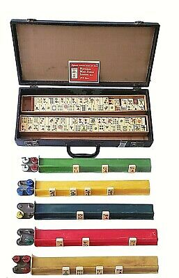 $124.95 • Buy Vintage Butterscotch Bakelite Mah Jong Game Set With Dice And Case