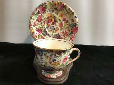 $ CDN75.52 • Buy Royal Winton Albans Footed Demitasse Cup & Saucer Summertime Rose Chintz