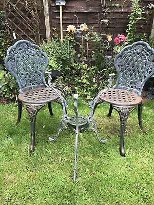 £100 • Buy Aluminium And Cast Iron Garden Furniture - Table Base And 2 Chairs (bistro Set)