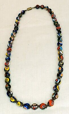 $35 • Buy Vintage Millefiori Italian Glass Bead Necklace. Hand Knotted. Bright Colors.