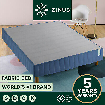 AU229 • Buy Zinus Justina QUEEN KING DOUBLE SINGLE Bed Frame Ensemble Fabric Base Navy Blue