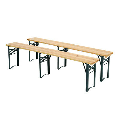 £95.95 • Buy 2x Folding Picnic Dining Bench Chair 4 Seater Long Wooden Beer Bench Stool 5.8ft