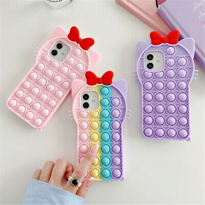 £6.99 • Buy New Cat Ears Fidget Push Bubble Phone Case With Red Bow For IPhones 6-12pro
