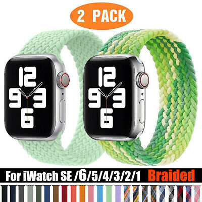 AU16.99 • Buy 2 Pack For Apple Watch Braided Solo Loop Band Strap 40 42 44mm IWatch 6 5 4 3 SE