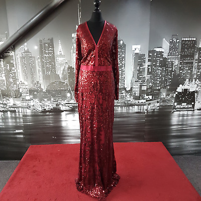 £69.99 • Buy Plus Size Long Sleeve Sequinned Gown (Deep Red-Size 18) Ball, Prom, Wedding, Cru