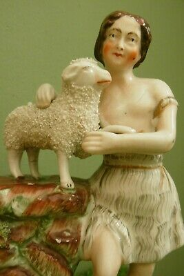 £40.67 • Buy ANTIQUE 19thc STAFFORDSHIRE FIGURE OF THE LAMB OF GOD WITH St. PETER C.1870