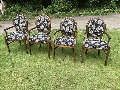 £175 • Buy 4 French Style Seat Carver Chairs Dining Floral Vintage