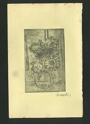 £50.35 • Buy Vincent Van Gogh Old Etching- Hand Signed In Pencil -  Sunflower Pot