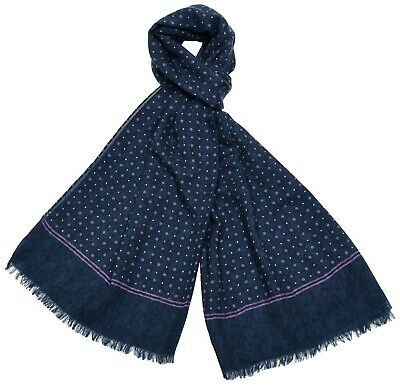 $175 • Buy Isaia Scarf Cashmere Wool Blue Dot 06SF0107 $550
