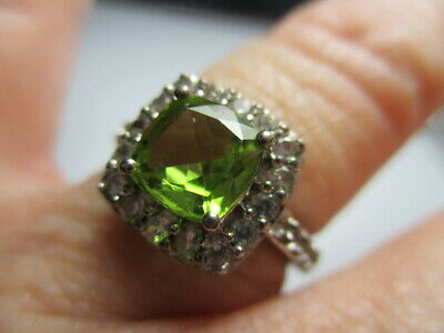 £21.56 • Buy Sterling Silver 925 Krn Green Peridot Solitaire White Topaz Accents Ring Size 6