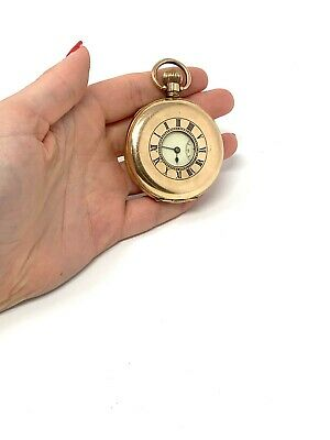 £2.20 • Buy Antique Half Hunter Gold Plated Manual Wind Waltham Pocket Watch Working #194