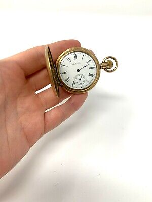 £0.99 • Buy Antique 14ct Gold Plated Full Hunter Top Wind Waltham Pocket Watch Working #196