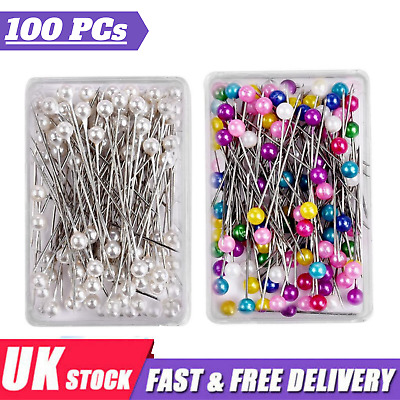£3.55 • Buy Dressmaking Pearl Fine Glass Head Tailors Pins Quilting Sewing Craft Assorted UK