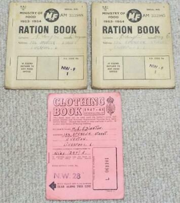 £9.99 • Buy WW2 Liverpool Vintage Pair Of 1953 Ministry Of Food Ration Books & Clothing Book