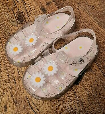 £3.99 • Buy New Girls Silver Glitter Daisy Flower Jelly Shoes Sandals Size 11 Summer