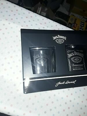 £10.50 • Buy Boxed New Jack Daniels Gift Set Whiskey Glass And Black Hip Flask