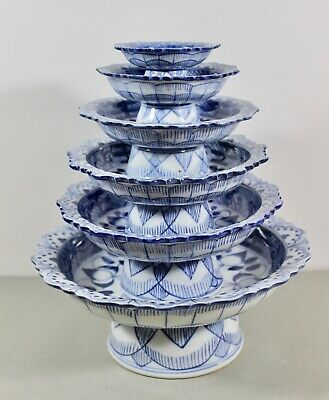$199.99 • Buy Set Of 6 Maitland Smith Blue White Hand Painted Porcelain Tiered Tazza Stem Cups
