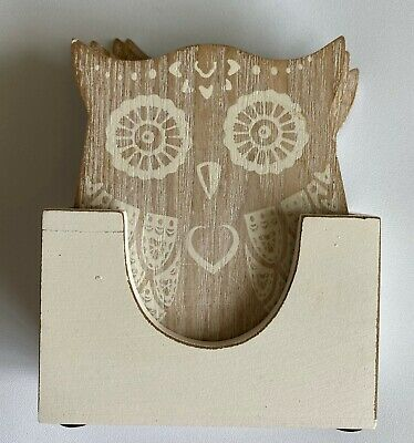 £3 • Buy Shabby Chic Set Of 4 Wooden Owl Coasters