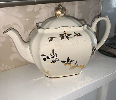 £0.99 • Buy Antique Sadler China Square Teapot Gold Plated, Floral Pattern Beautiful Design