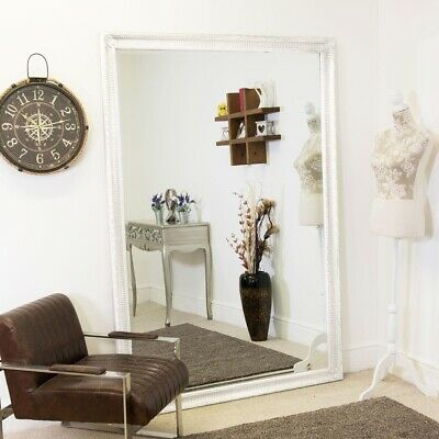 £163.99 • Buy Extra Large White Vintage Look Wall Mirror Full Length 6Ft7 X 4Ft7 201cmx140cm