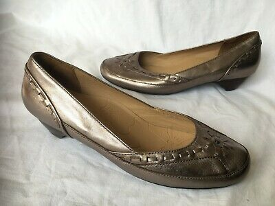 £8.99 • Buy M & S Footglove ~ Bronze Gold Leather Cushioned Courts Shoes 1.5  Wedges Size 6