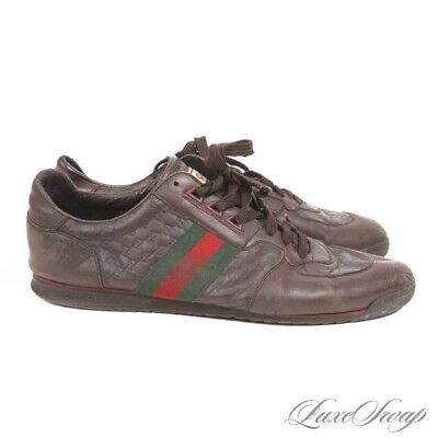 AU13.50 • Buy Gucci Made In Italy 233334 Brown Leather Monogram Race Stripe Low Sneakers 11 G