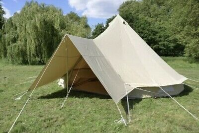 £77 • Buy Glamping AWNING Canvas Bell Tent Waterproof Family Camping Tent Yurt Awning 5M