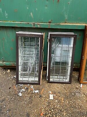 £30 • Buy 6 Reclaimed Wooden Window Sashes Double Glazed Brown On White Leaded