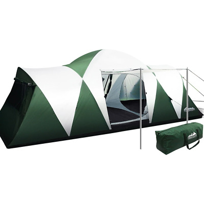 AU243.97 • Buy Weisshorn Family Camping Tent 12 Person Hiking Beach Tents (3 Rooms) Green