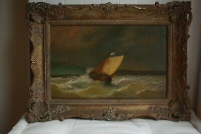 £25 • Buy Vintage Framed Painting Of A Ship At Sea In A Storm